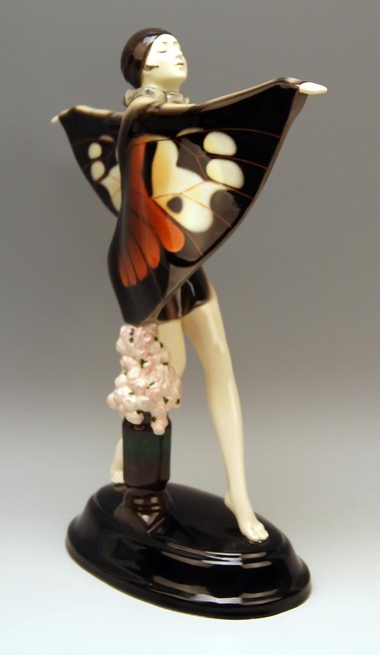 Art Deco Goldscheider Vienna Lorenzl Dancing Butterfly Lady Captured Bird Nr. 5960, 1930s For Sale