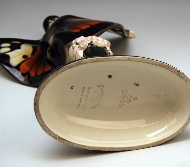 Mid-20th Century Goldscheider Vienna Lorenzl Dancing Butterfly Lady Captured Bird Nr. 5960, 1930s For Sale