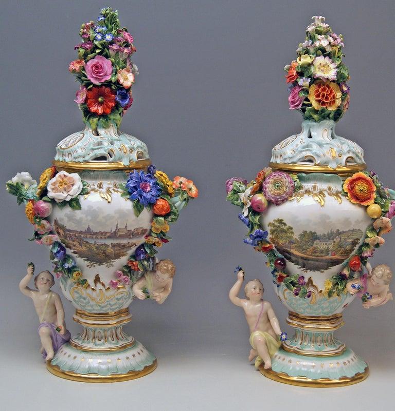 Rococo Meissen Two Potpourri Vases 2707 Painted Pictures Cherubs Flowers Kaendler 1870 For Sale