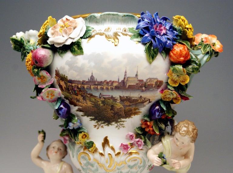 Late 19th Century Meissen Two Potpourri Vases 2707 Painted Pictures Cherubs Flowers Kaendler 1870 For Sale