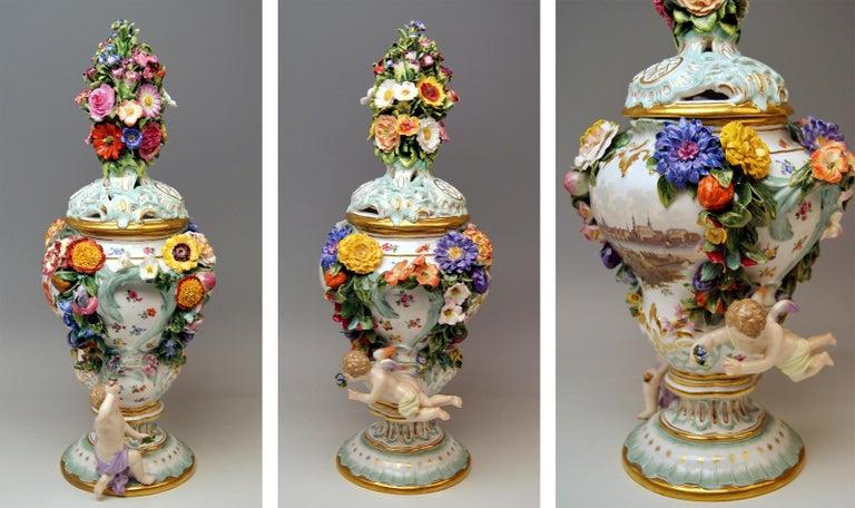Meissen Two Potpourri Vases 2707 Painted Pictures Cherubs Flowers Kaendler 1870 For Sale 1
