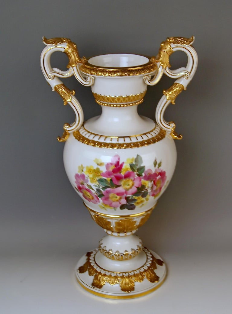 Meissen tall amphora vase with handles / designed by Ernst August Leuteritz   Manufactory: Meissen  Dating: made circa 1870 Hallmarked: Meissen Mark with Pommels on Hilts (19th century) First quality model number D 153 / former's number 95 /