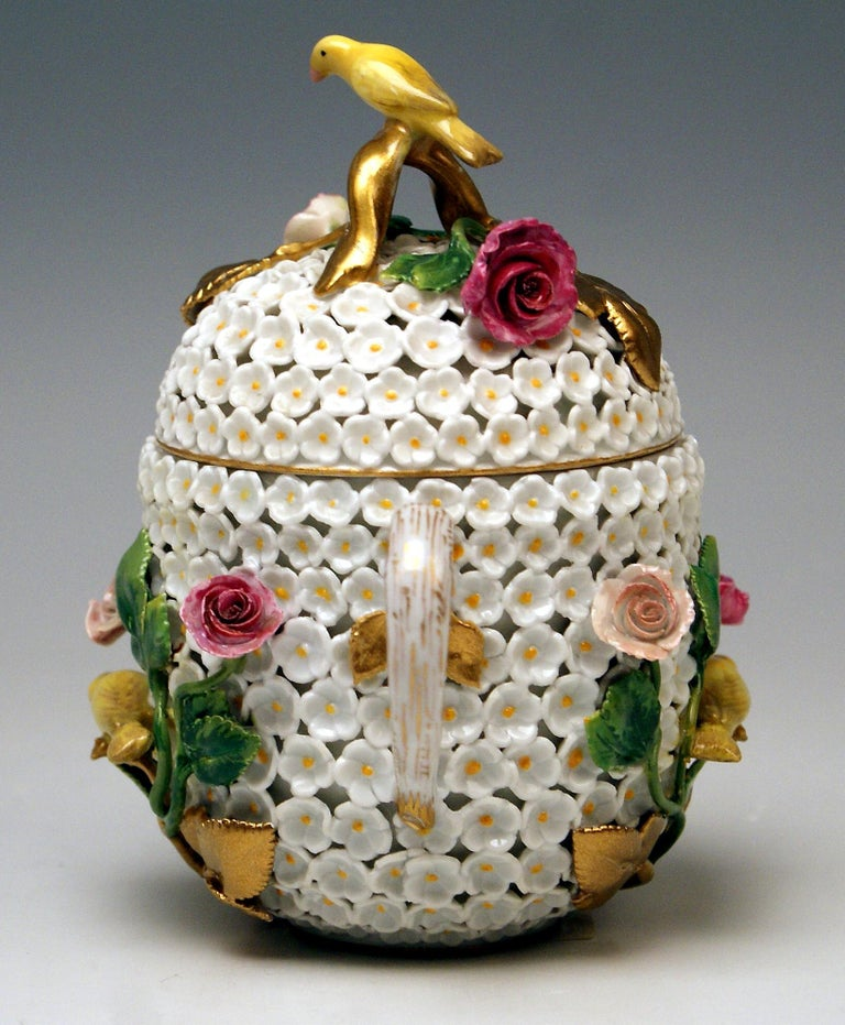 German Meissen Lidded Cup with Snowball Pattern and Handle Made circa 1850 For Sale