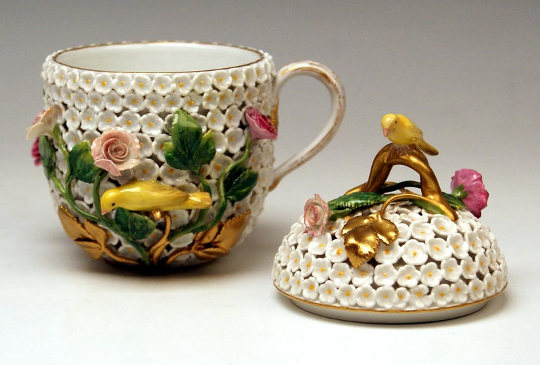 Painted Meissen Lidded Cup with Snowball Pattern and Handle Made circa 1850 For Sale