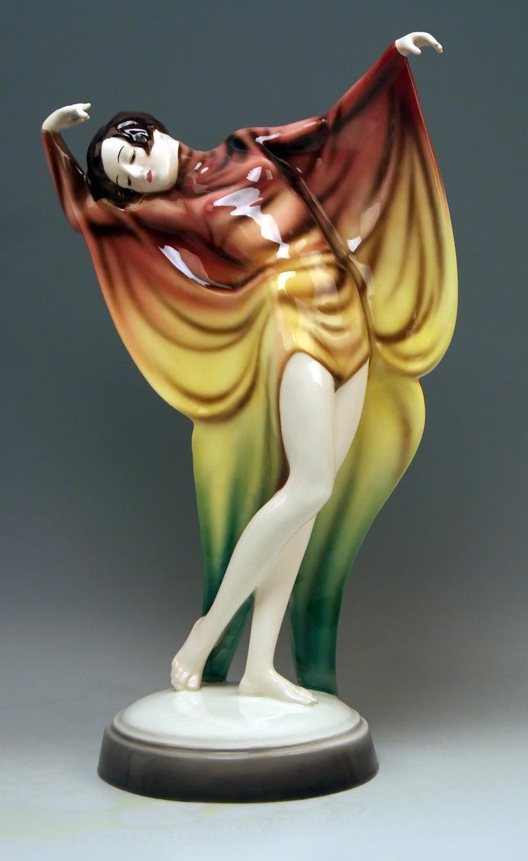 Art Deco Goldscheider Vienna Lady Dancer Butterfly Costume Model 5900 Lorenzl For Sale