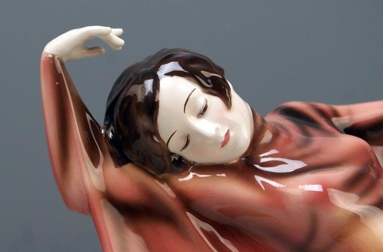 Ceramic Goldscheider Vienna Lady Dancer Butterfly Costume Model 5900 Lorenzl For Sale