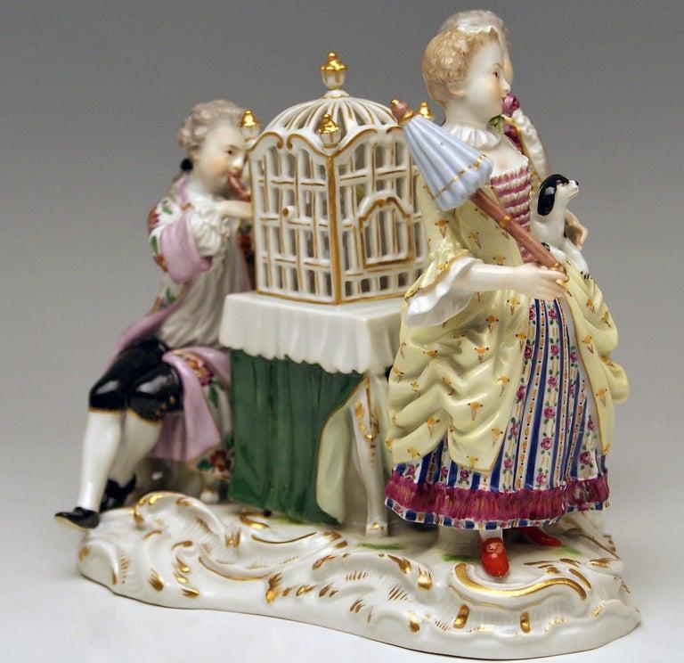 German Meissen Children Clad in Rococo Garments with Birdcage Model 2897 Kaendler, 1870 For Sale
