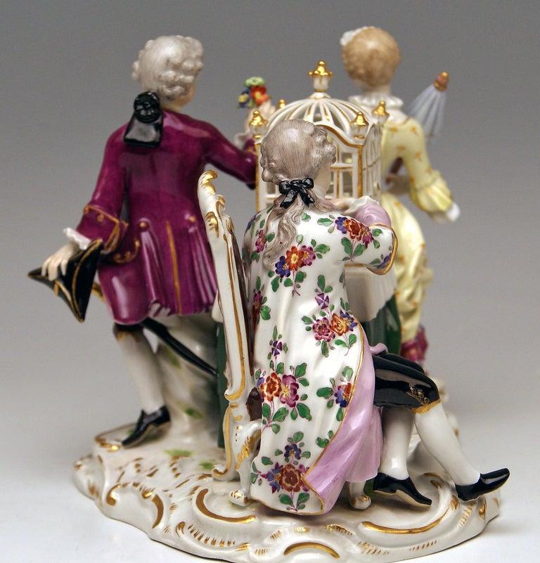 Meissen Children Clad in Rococo Garments with Birdcage Model 2897 Kaendler, 1870 In Excellent Condition For Sale In Vienna, AT