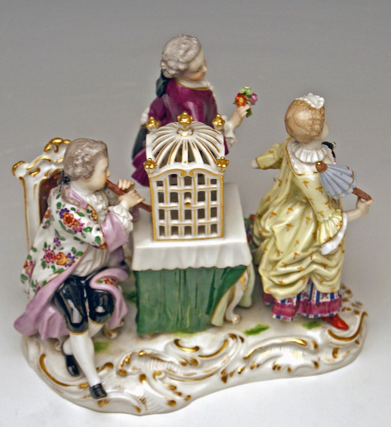Late 19th Century Meissen Children Clad in Rococo Garments with Birdcage Model 2897 Kaendler, 1870 For Sale