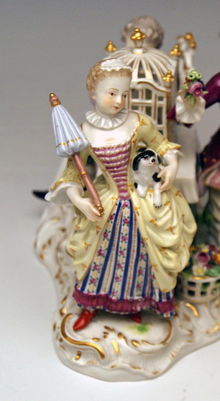Porcelain Meissen Children Clad in Rococo Garments with Birdcage Model 2897 Kaendler, 1870 For Sale