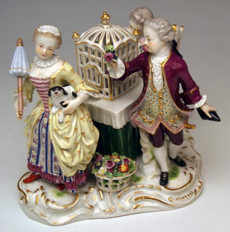 Meissen Children Clad in Rococo Garments with Birdcage Model 2897 Kaendler, 1870 For Sale 1