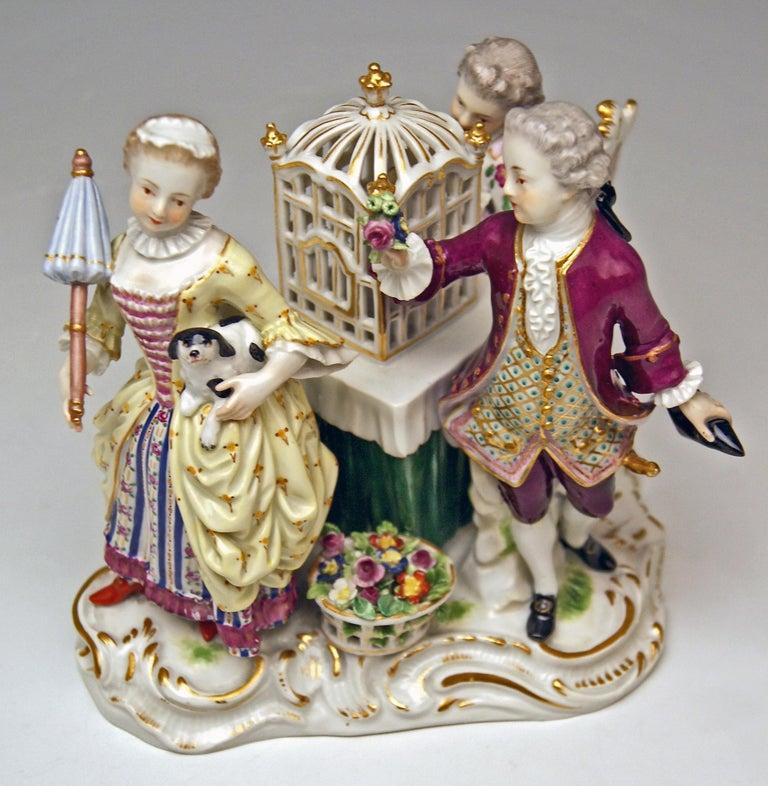 Meissen Children Clad in Rococo Garments with Birdcage Model 2897 Kaendler, 1870 For Sale 2