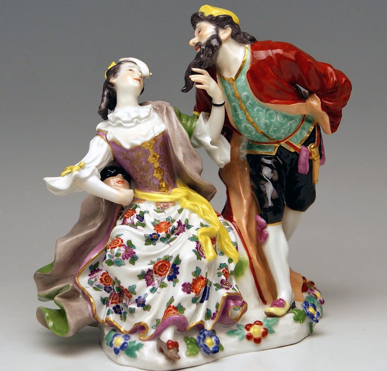 Meissen gorgeous group of figurines: Pantalone and Columbine deriving from Commedia dell'Arte. The details are stunningly scupltured = finest modelling  Manufactory: Meissen  Dating: made 1910 (MEISSEN JUBILEE MARK 1710-1910) Hallmarked: