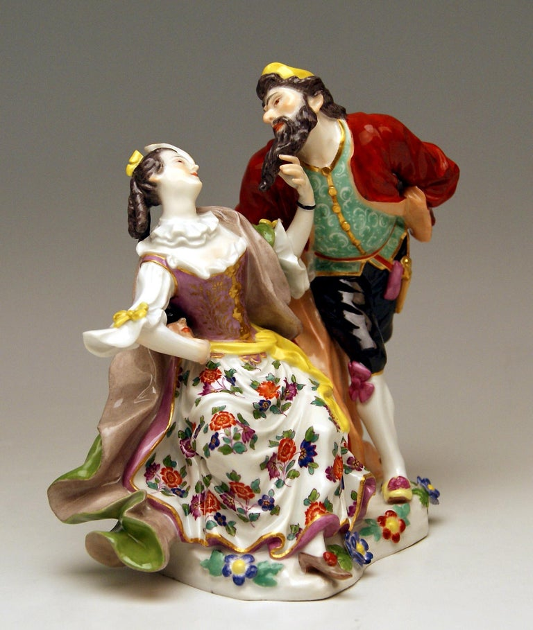 Meissen Pantalone and Columbine Commedia dell'Arte Model 279 Kaendler Made 1910 In Excellent Condition For Sale In Vienna, AT