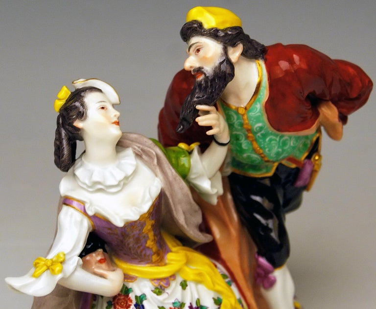 Early 20th Century Meissen Pantalone and Columbine Commedia dell'Arte Model 279 Kaendler Made 1910 For Sale