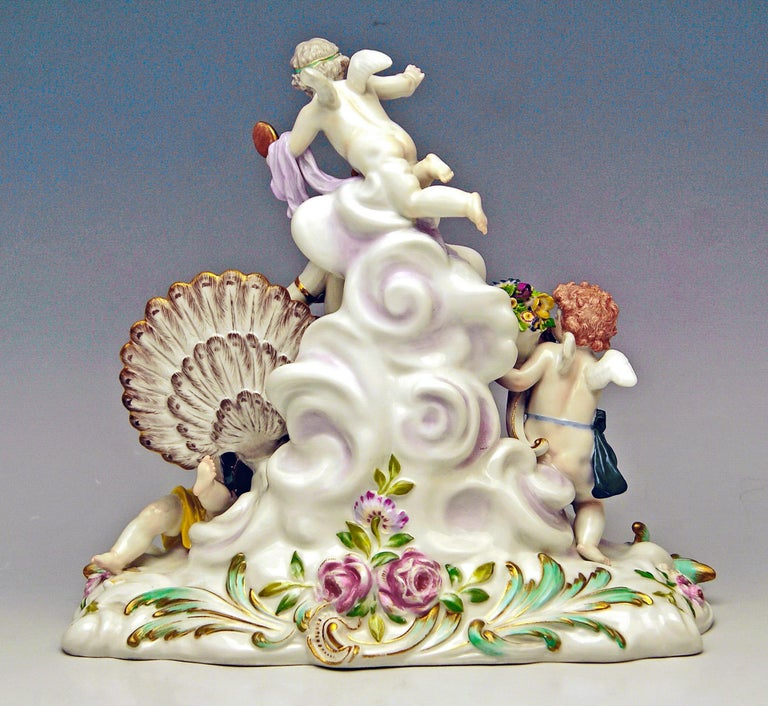 German Meissen Figurines Allegory of Air Juno with Peacock Model O 199 Paul Helmig 1900 For Sale