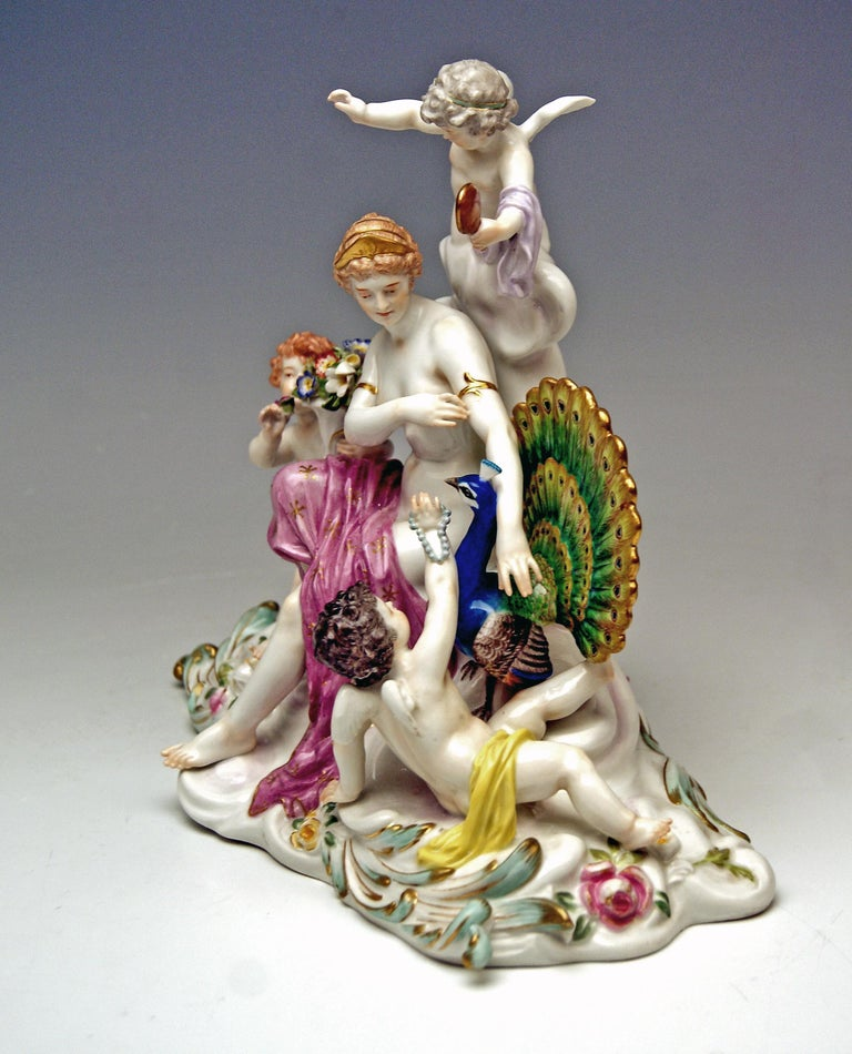 Porcelain Meissen Figurines Allegory of Air Juno with Peacock Model O 199 Paul Helmig 1900 For Sale