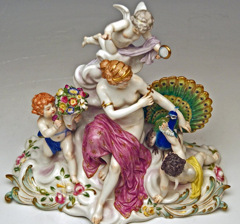 Meissen Figurines Allegory of Air Juno with Peacock Model O 199 Paul Helmig 1900 For Sale 4
