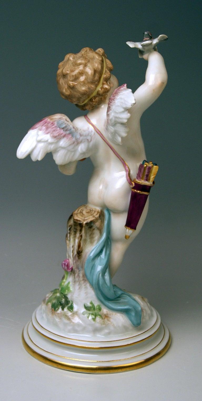 German Meissen Tall Cupid Figurine Dove of Peace Love Letter M 115 Johann Pollak For Sale