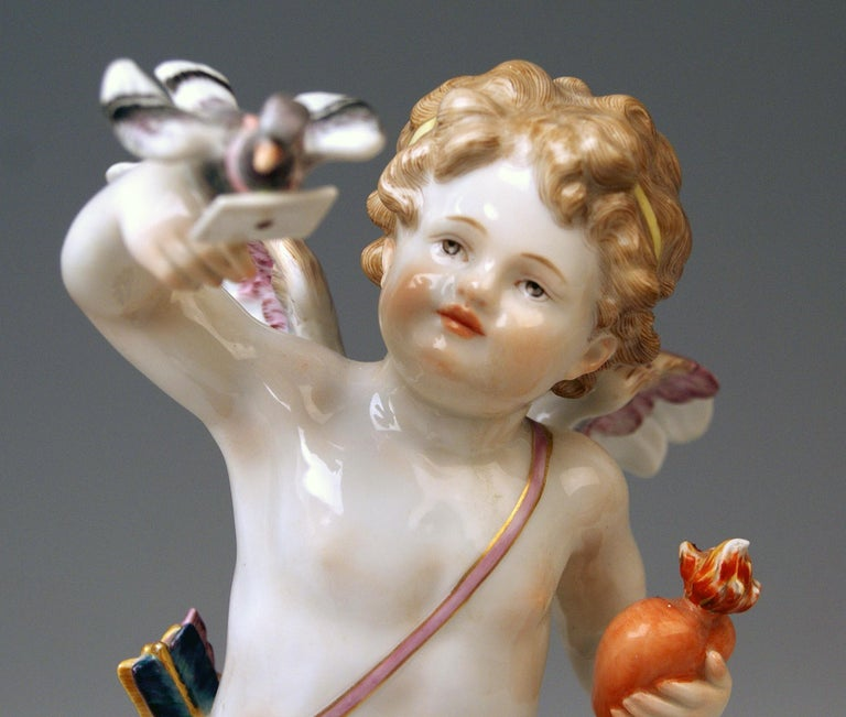 Meissen Tall Cupid Figurine Dove of Peace Love Letter M 115 Johann Pollak In Excellent Condition For Sale In Vienna, AT