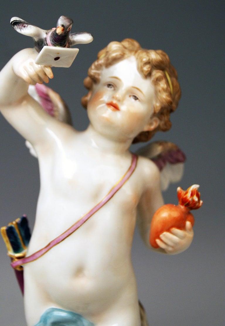 Late 19th Century Meissen Tall Cupid Figurine Dove of Peace Love Letter M 115 Johann Pollak For Sale