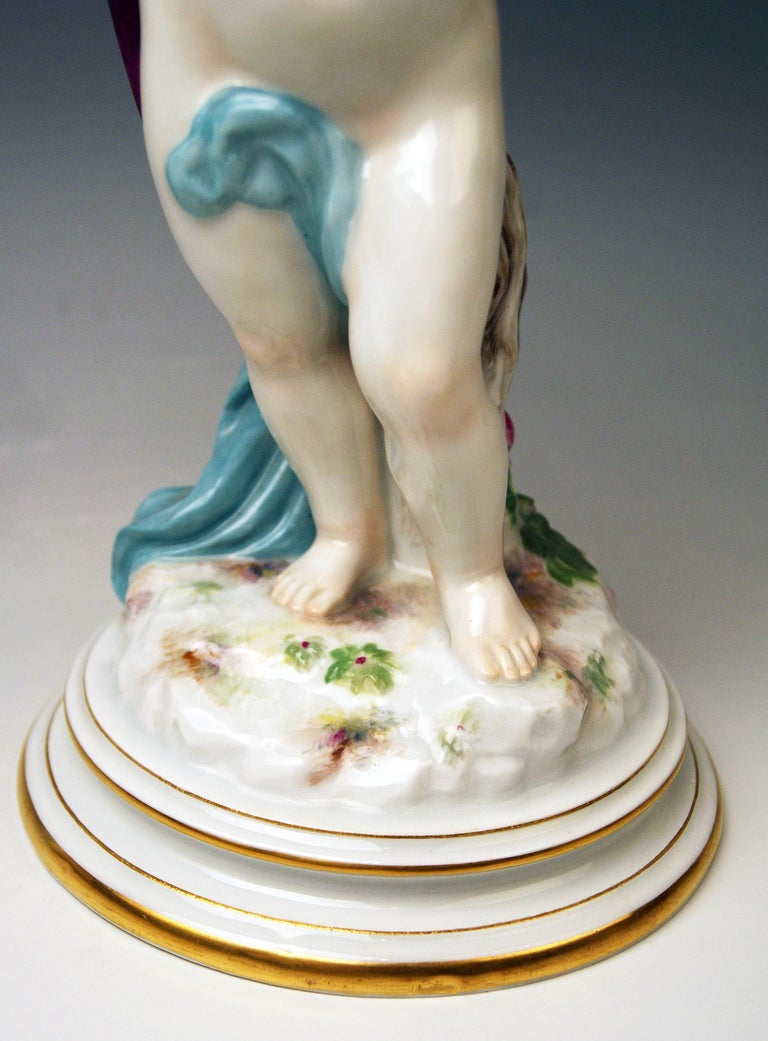 Porcelain Meissen Tall Cupid Figurine Dove of Peace Love Letter M 115 Johann Pollak For Sale