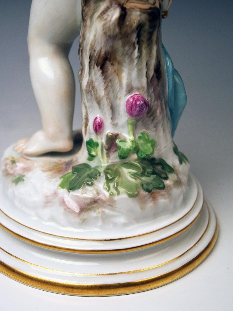 Meissen Tall Cupid Figurine Dove of Peace Love Letter M 115 Johann Pollak For Sale 3