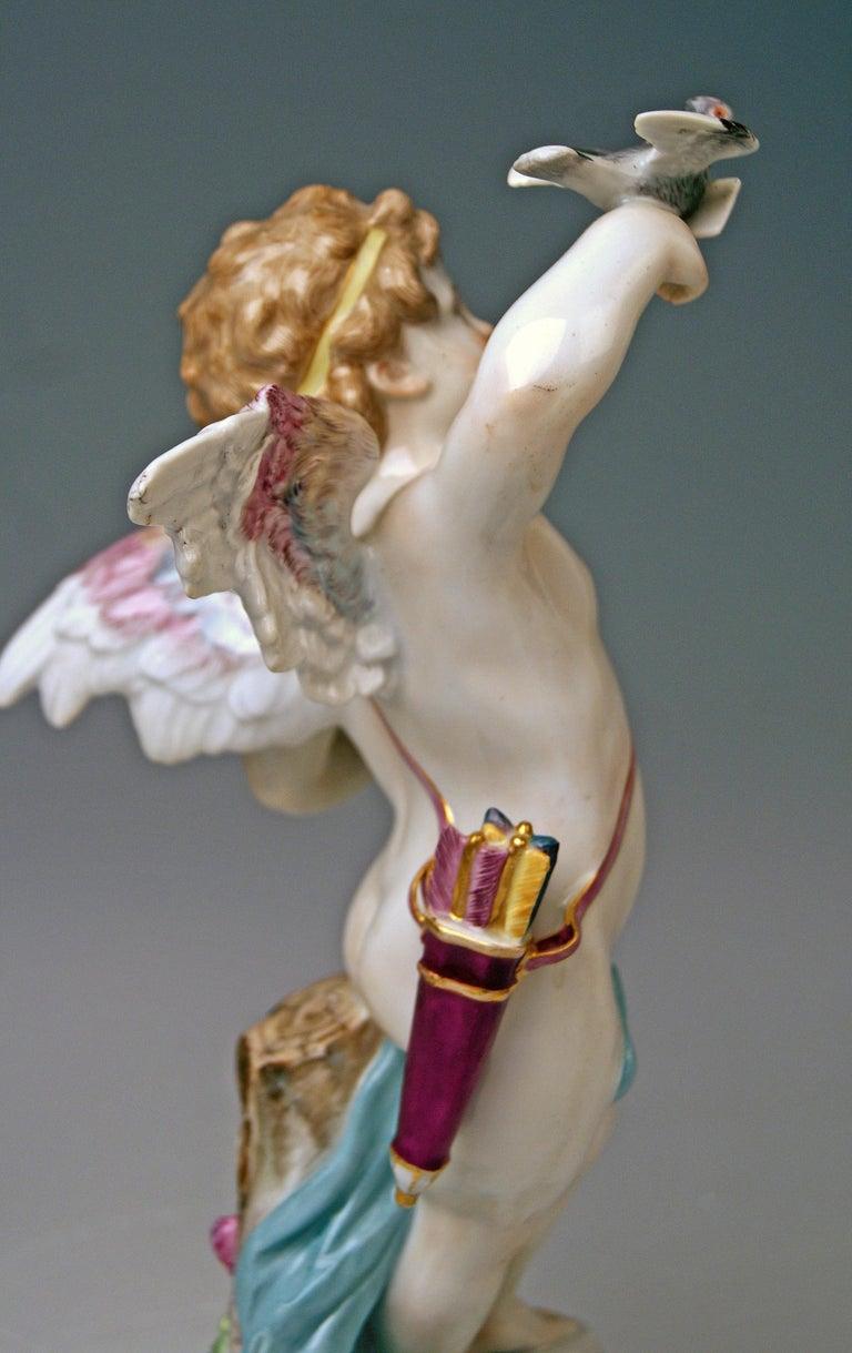 Meissen Tall Cupid Figurine Dove of Peace Love Letter M 115 Johann Pollak For Sale 1