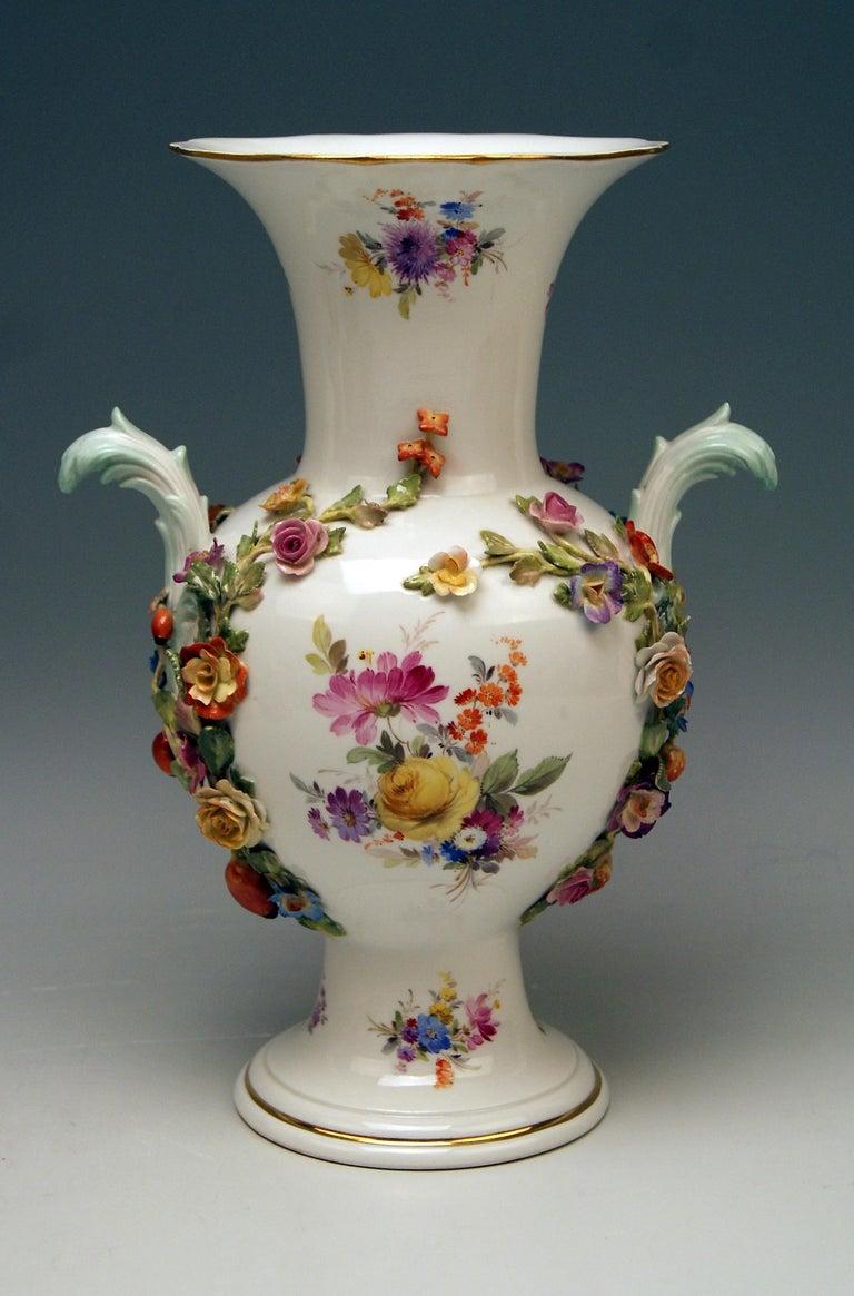 Rococo Meissen Bellied Vase Sculptured Flowers Fruits, circa 1870 For Sale