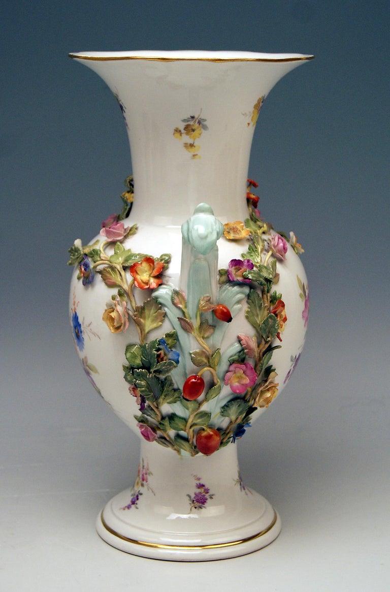 German Meissen Bellied Vase Sculptured Flowers Fruits, circa 1870 For Sale