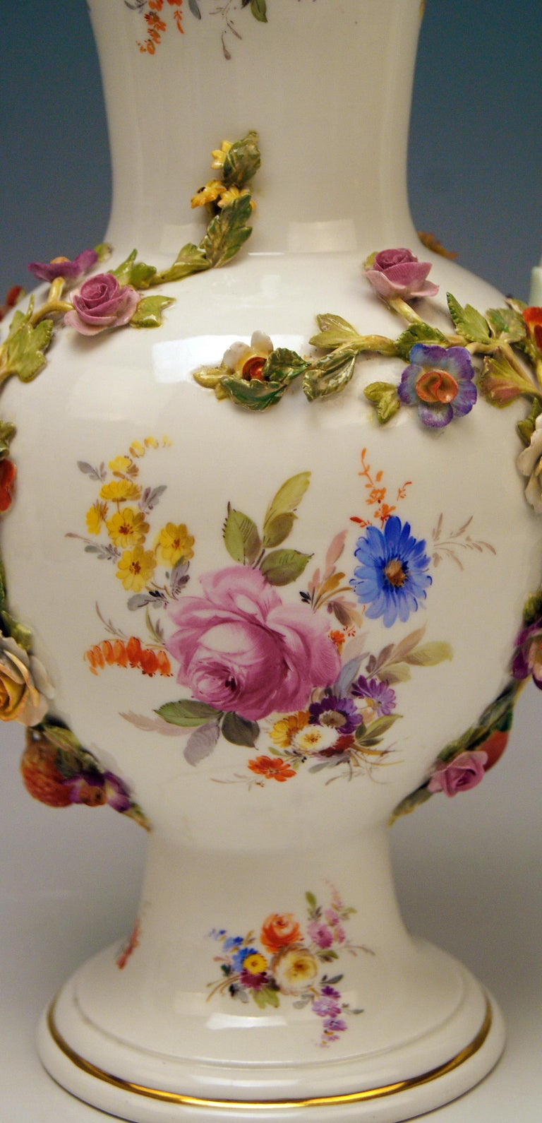 Painted Meissen Bellied Vase Sculptured Flowers Fruits, circa 1870 For Sale