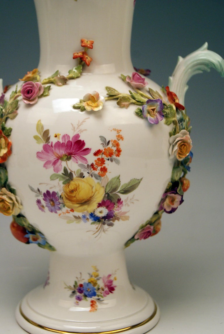 Late 19th Century Meissen Bellied Vase Sculptured Flowers Fruits, circa 1870 For Sale