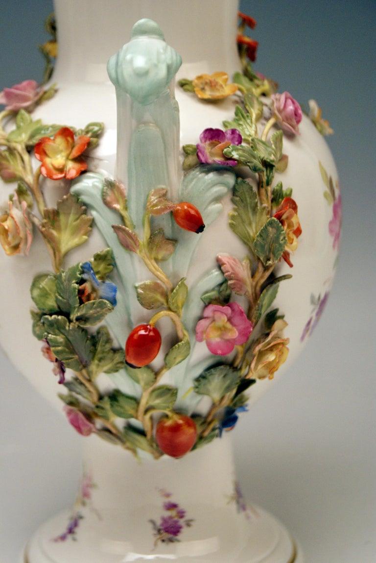 Porcelain Meissen Bellied Vase Sculptured Flowers Fruits, circa 1870 For Sale