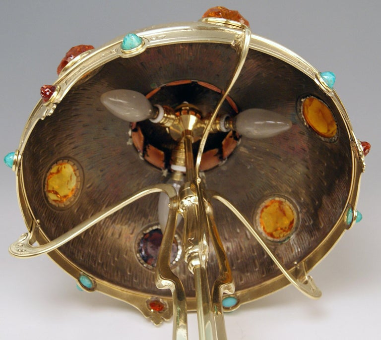 Art Nouveau Table Lamp Brass Multicolored Glass Stones Vienna, circa 1905-1910 For Sale 5