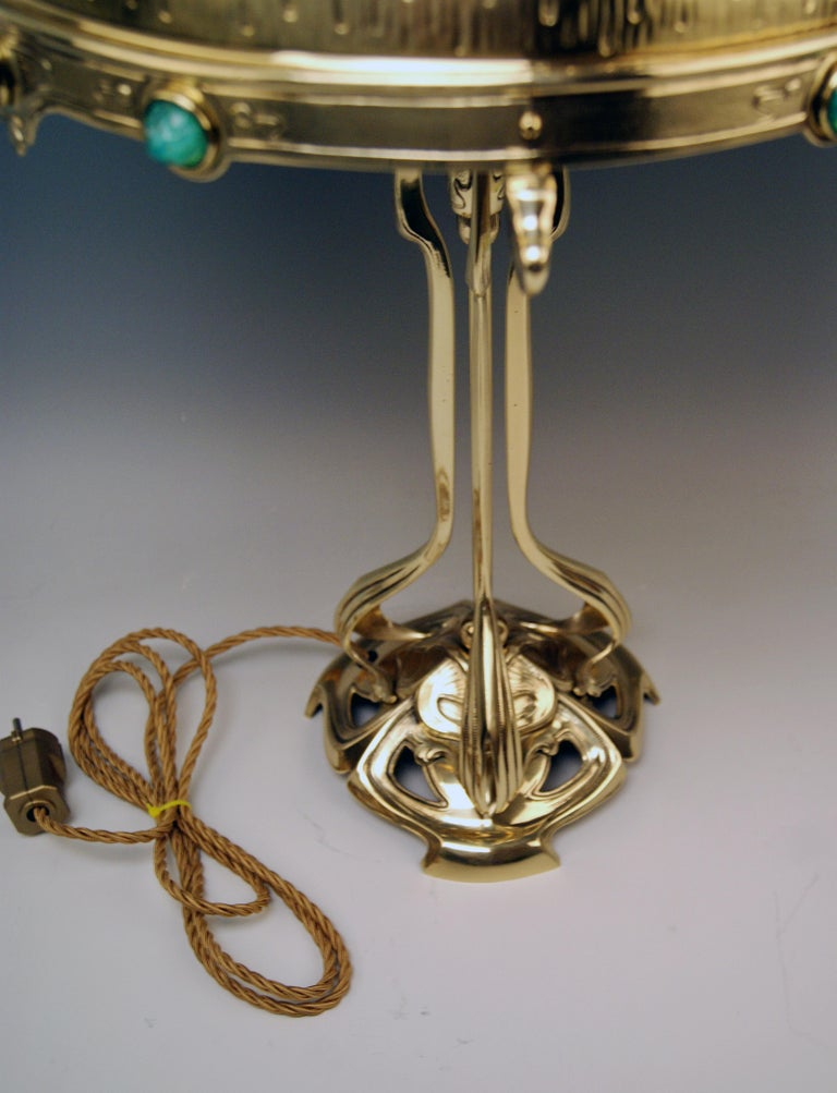 Art Nouveau Table Lamp Brass Multicolored Glass Stones Vienna, circa 1905-1910 For Sale 4