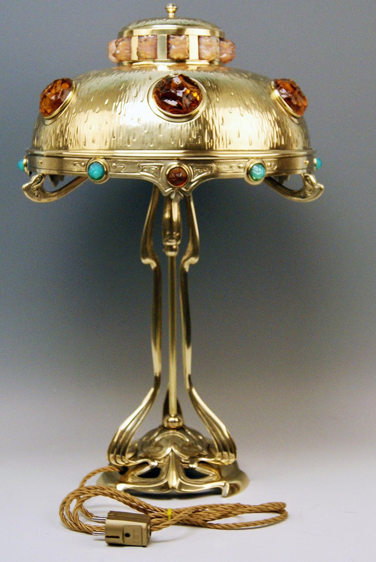 Early 20th Century Art Nouveau Table Lamp Brass Multicolored Glass Stones Vienna, circa 1905-1910 For Sale