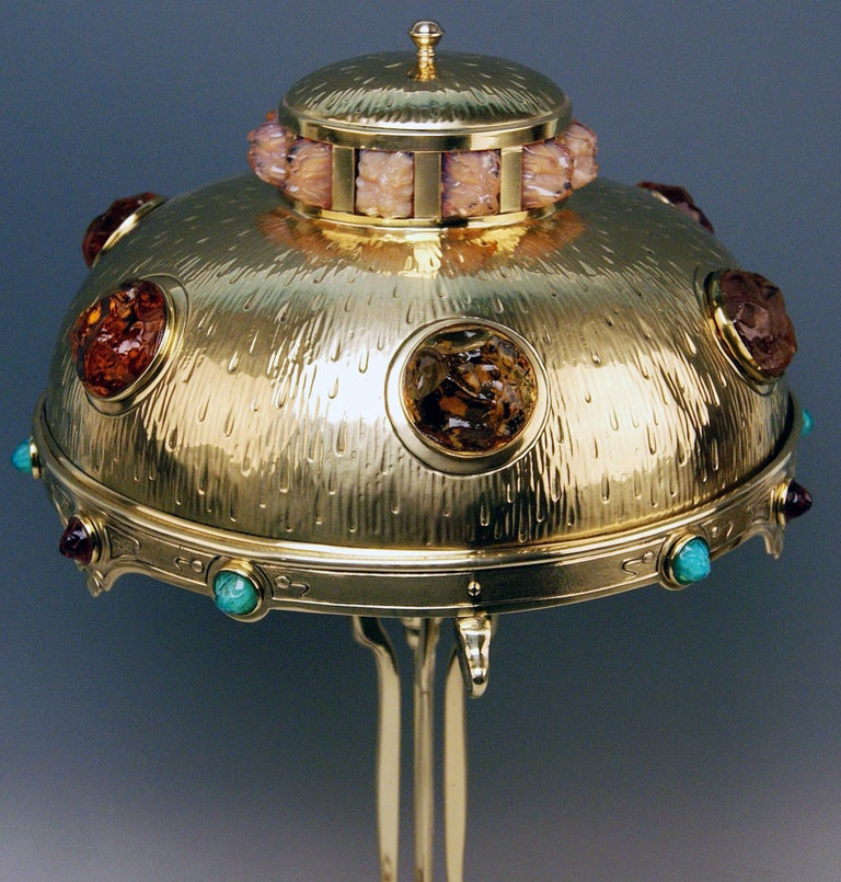 Art Nouveau Table Lamp Brass Multicolored Glass Stones Vienna, circa 1905-1910 For Sale 3
