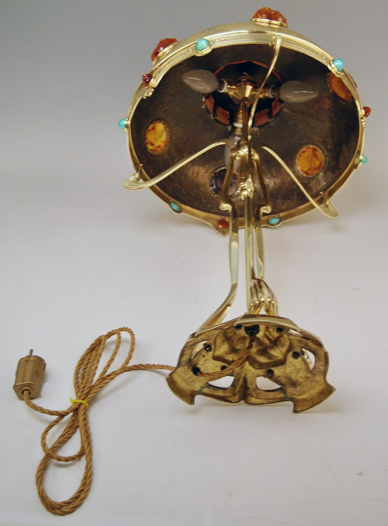 Art Nouveau Table Lamp Brass Multicolored Glass Stones Vienna, circa 1905-1910 For Sale 7