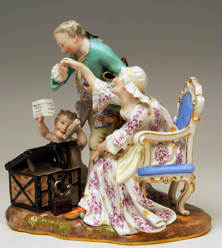 Meissen very interesting figurines' group: The Legacy Hunter or Ancient Love The details are stunningly scupltured = finest modelling  Manufactory: Meissen  Dating: made circa 1870 Hallmarked: Meissen Mark with Pommels on Hilts (19th