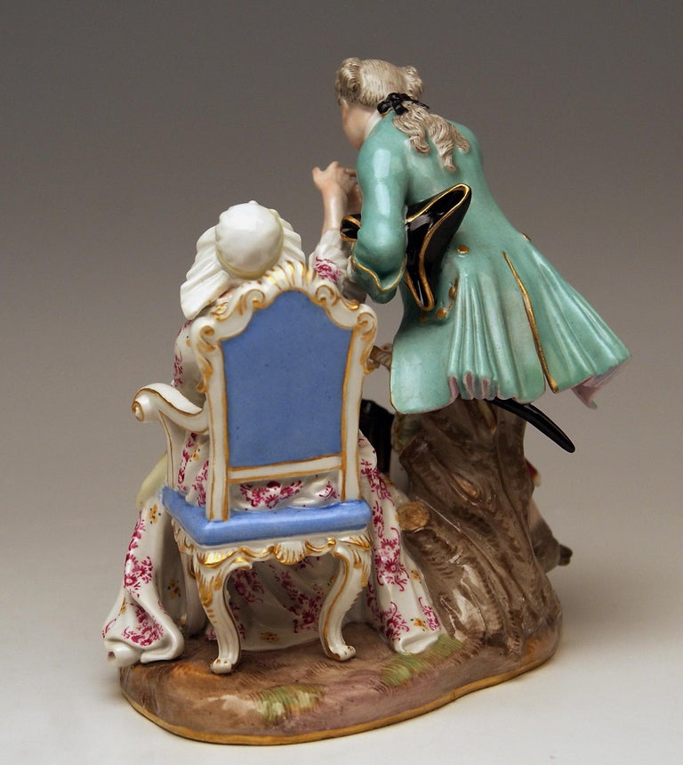 Rococo Meissen Figurines Ancient Love Legacy Hunter Model A 46 Kaendler made circa 1870 For Sale