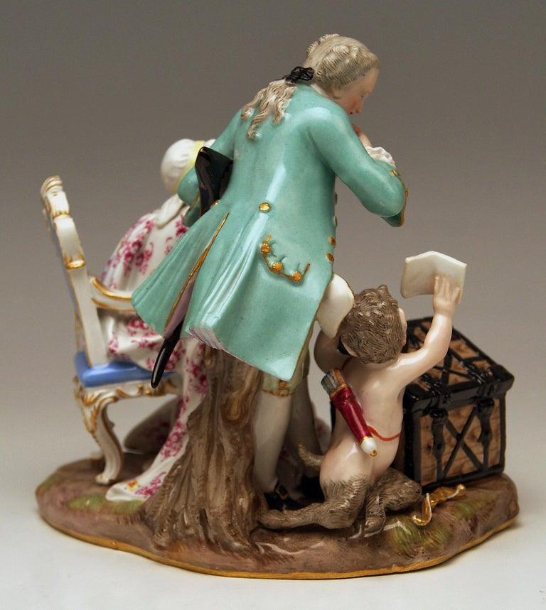German Meissen Figurines Ancient Love Legacy Hunter Model A 46 Kaendler made circa 1870 For Sale
