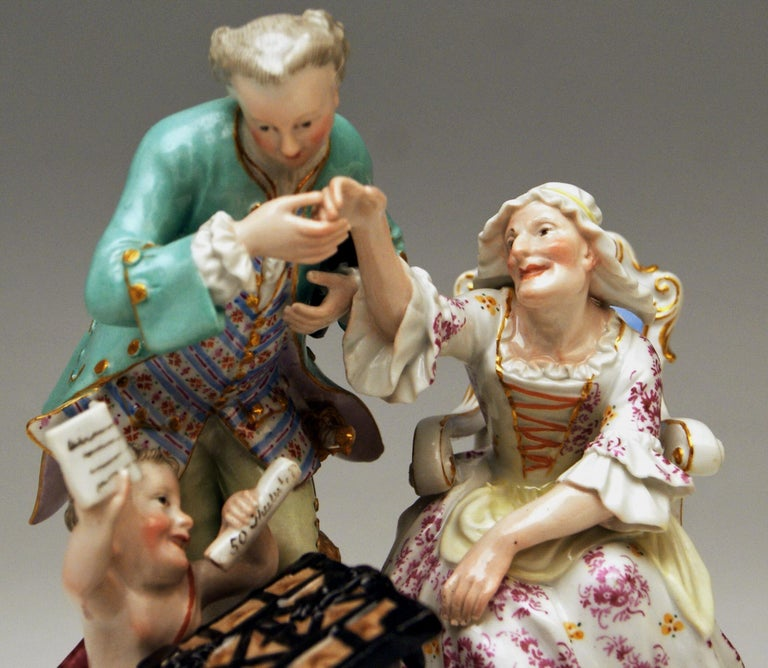 Painted Meissen Figurines Ancient Love Legacy Hunter Model A 46 Kaendler made circa 1870 For Sale