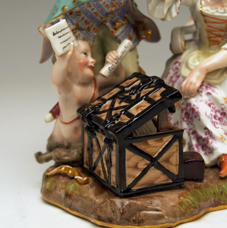 Meissen Figurines Ancient Love Legacy Hunter Model A 46 Kaendler made circa 1870 In Excellent Condition For Sale In Vienna, AT