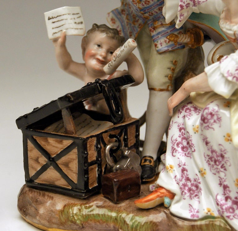 Late 19th Century Meissen Figurines Ancient Love Legacy Hunter Model A 46 Kaendler made circa 1870 For Sale