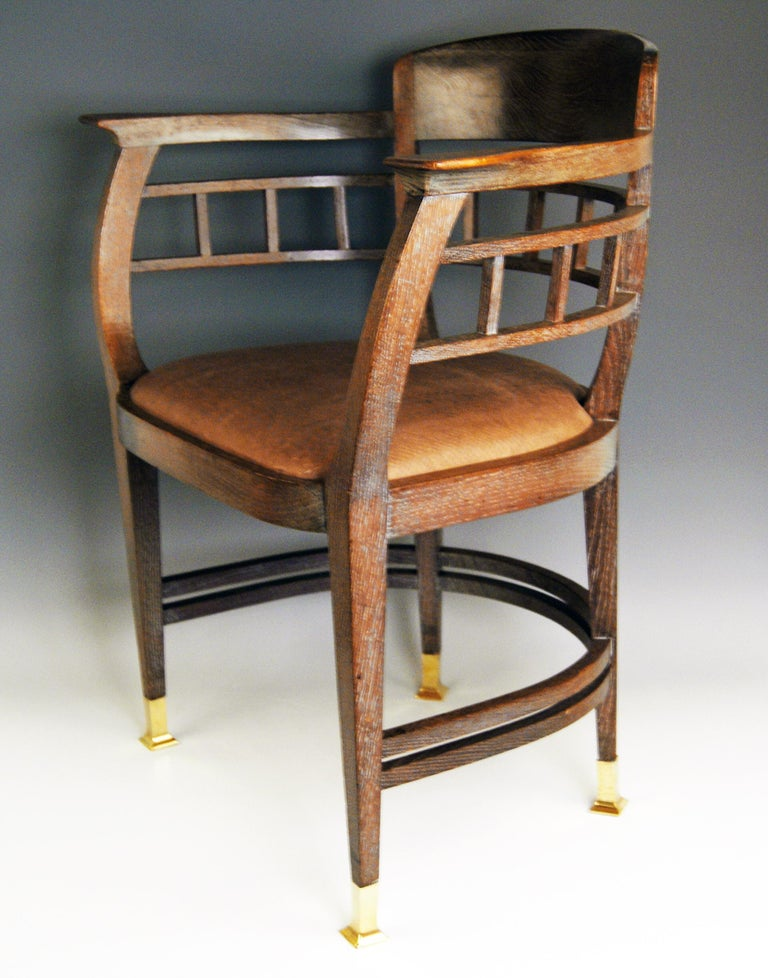 Art Nouveau Vienna armchair (authenticity guaranteed!) Please note: Two armchairs are available / the price here is relating to one armchair.  This armchair was made by cabinetmakerMichael Niedermoser / VIENNA. Art Nouveau armchair The feet