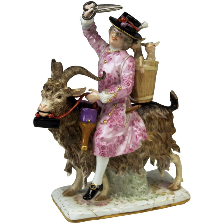 Meissen Kaendler Figurine Tailor Riding on Goat Lovely Model 171, circa 1870