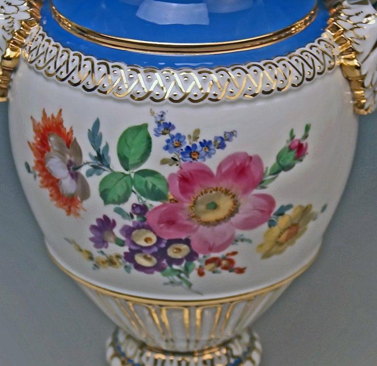 Meissen Snake Handles Vase Painted Model E 116 Design By Leuteritz