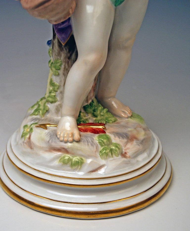 Early 20th Century Meissen Tall Cupid Figurine with Basket M Series 113 Heinrich Schwabe Made 1910 For Sale