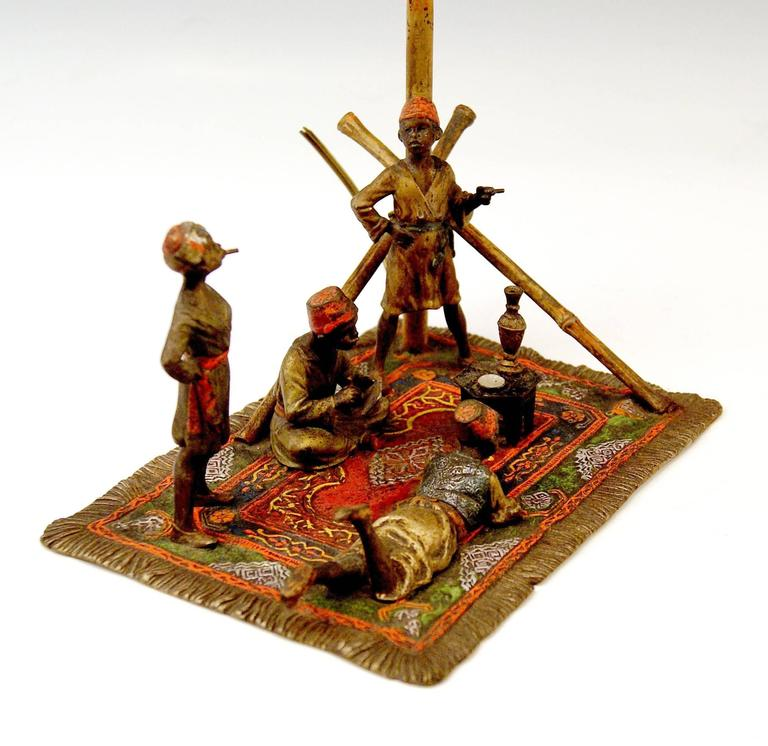 Early 20th Century Vienna Bronze Vintage Four Arab Men on Carpet by Franz Bergmann, circa 1905-1910