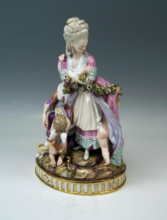 Meissen Gorgeous Group of Figurines called 'THE BROKEN EGGS' or  'THE LOST INNOCENCE' as well as 'THE PANDERER'.